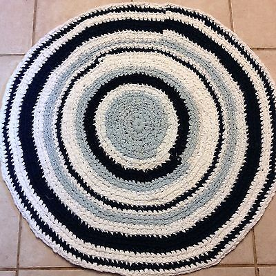 "Round Handmade Rag Rug Blue & White Colors 35"" Accent Rug Primitive Cottage"