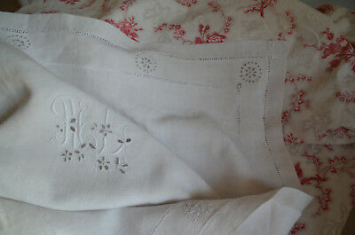 Antique hand embroidered pure linen pillow case ML monogram, white work rosettes