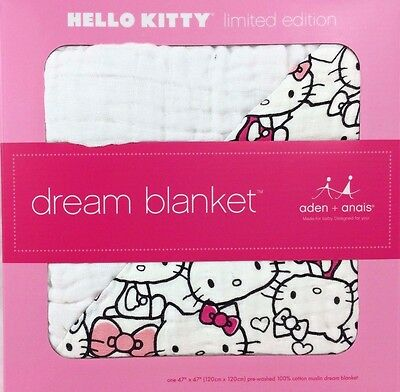 Aden and Anais Cotton Muslin Dream Blanket Hello Kitty Brand New in Box
