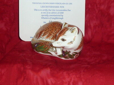 Royal Crown Derby  LEICESTERSHIRE FOX  for WHEELERS. Lim.No. 20.  Paperweight.