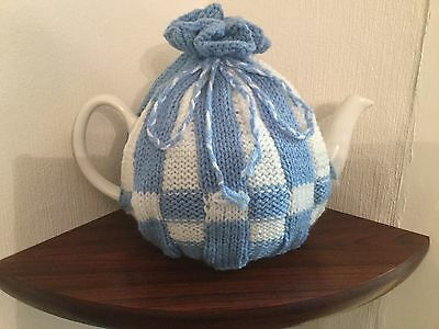 New hand knitted tea cosy Light Blue and White