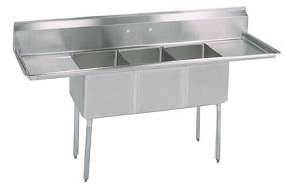 "Stainless Steel 3 Compartment Sink 90"" x 24"" with 2 Drainboards NSF Certified"