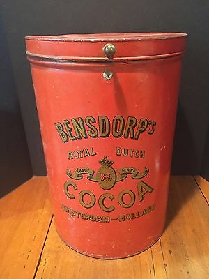 Large Antique General Store Advertising Tin Bensdorp's Royal Dutch Cocoa