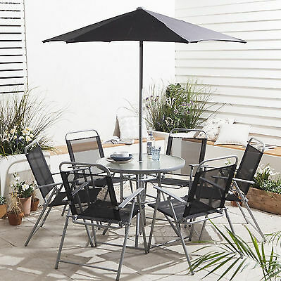 8 x Garden Patio Furniture Outdoor Dining Set Table 6 Chairs Umbrella Home Yard