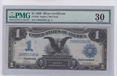 1899 One Dollar Bill $1 Black Eagle Silver Certificate Large Note - PMG VF 30