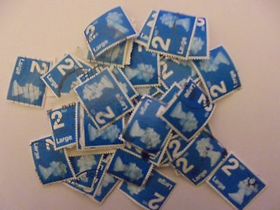 100 x 2nd Class Large PLANE Blue GB Stamps - Franked - Used - Off Paper