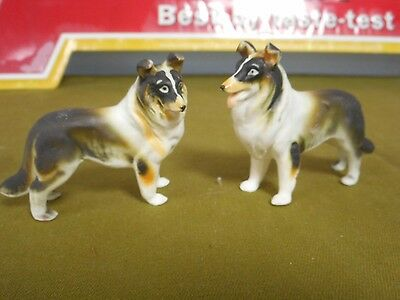 Vintage Miniature 2 Porcelain Australian Shepherd Dog Figurines Matte Japan