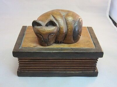 Hand carved wood box. Sleeping cat on a book