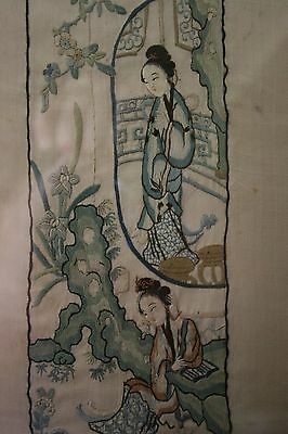 Antique Early 19th Century Chinese Embroidered Silk Geisha Girl Panel Framed