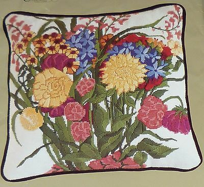 DUNLICRAFT - FALL FLORAL PILLOW - TAPESTRY NEEDLEPOINT KIT with DMC THREAD FLOSS