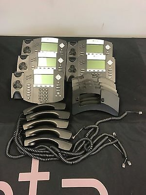 Polycom Lot Of 5 2201-12550-001 Ip 550 Sip Voip Business Phone W/ Handsets