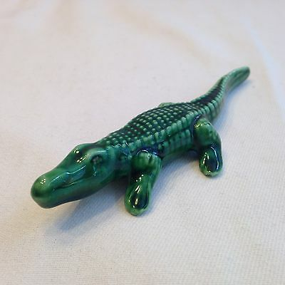 Vintage Miniature Bone China Ceramic Glazed Green Alligator Crocodile Figurine