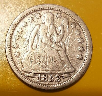 1853 Seated Liberty Silver Dime Coin 10 Cents