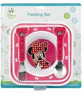 Disney Baby Minnie Mouse Feeding Gift Set Plate Bowl Stainless Steel Cutlery