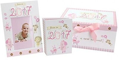 JVL Baby Girls Born In 2017 Keepsake Gift Box Including Photo Frame And Album -