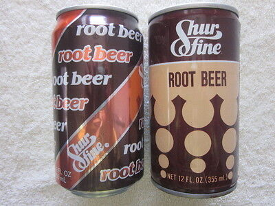 1976  and  1987     SHURFINE    ROOT BEER   CANS  Bottom Opened