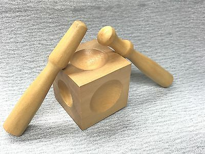 Wood Dapping Block Set 2 Punches Dent Remover Jewelry Design Wooden Forming Tool