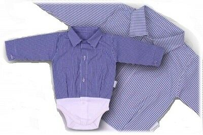 Blue Check Baby Boy Smart Shirt Formal Bodysuit Body Shirt Long Sleeve 0-24M