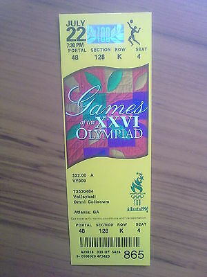 Ticket Olympic Games ATLANTA 22.07.1996 VOLLEYBALL (7:30 PM)