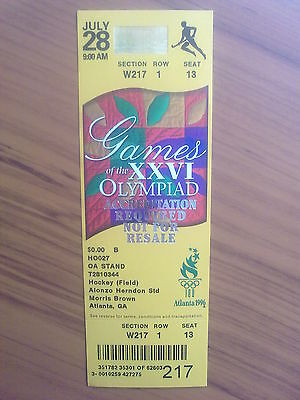 Ticket Olympic Games ATLANTA 28.07.1996 HOCKEY FIELD