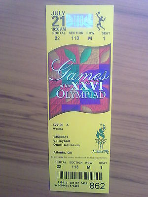 Ticket Olympic Games ATLANTA 21.07.1996 VOLLEYBALL (10.00 AM)