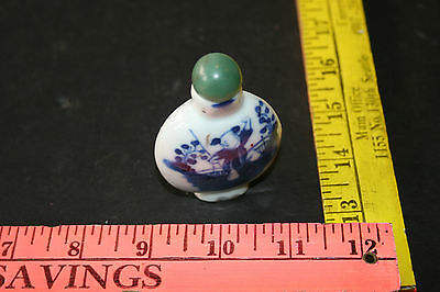 Chinese Porcelain Blue and White Snuff Bottle man doing Tai chi