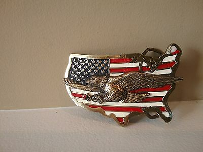 Vintage 1989 The Great American Buckle Co. USA Flag & Eagle Belt Buckle #1926