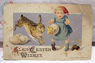Vintage Embossed Postcard Easter Small Girl Rabbit Chick Holiday John Winsch