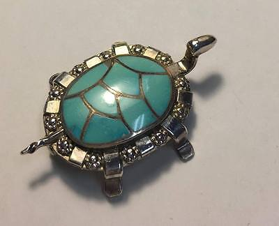 Carmichael Haloo Signed Chaloo Zuni Sterling Silver Turtle Brooch Pendant Inlay