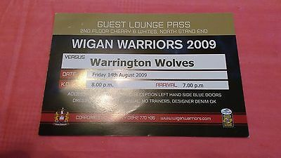 Wigan v Warrington 2009 Used Rugby League Hospitality Pass