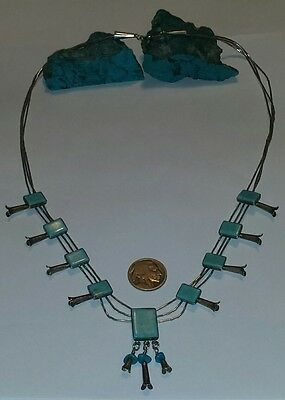 Old Pawn Navajo Turquoise & Sterling Silver Squash Blossom Necklace ~Signed QT~