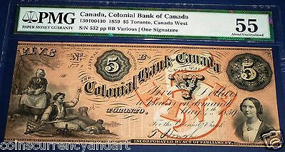 Colonial Bank Of Canada 1859 $5 Pmg 55 About Uncirculated