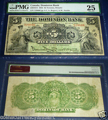 Canada . The Dominion Bank  1925 $5 . Pmg 25 Very Fine