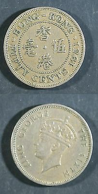 1951  Hong Kong 50 Cents - Solid  VF   stk#2d48