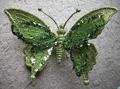 Clip On -  Ornament- Beautiful Green Sequin Butterfly
