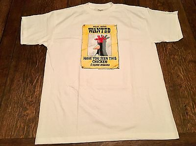 """vintage 1989 WALLACE & GROMIT """"Wanted Chicken"""" mens XL shirt cartoon BBC x-large"""