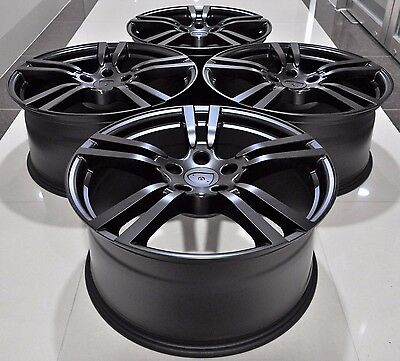 """20"""" Turbo 2 Style Black Staggered Wheels Rims Fits 911 Panamera 5398 Mb"""