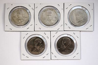 UNC USSR CCCP RUSSIA 1989 FULL SET of 5 COMMEMORATIVE 1 ROUBLE COIN LOT