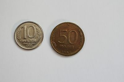 1993 Russia Mmd Moscow Mint 2 Coin Set 10 50 Roubles Rubles Lot