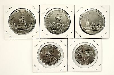 UNC USSR CCCP RUSSIA 1988 FULL SET of 5 COMMEMORATIVE 5 & 1 ROUBLE COIN LOT