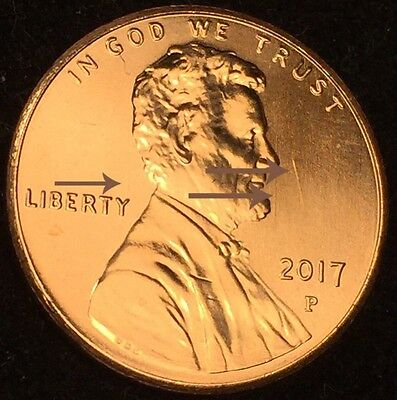 Cool!! 2017 P - Die Clash / Shield Spikes Lincoln Lip Shield Cent Mint Error