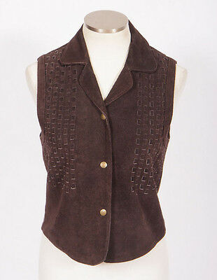 Vtg 70s Retro Brown Suede Leather Woven Western Hippie Sleeveless Jacket Vest S