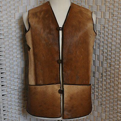 VTG Rugged Leather Cowhide Fur Suede Cowboy Western Lined Vest Brown Tan Pockets