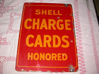 Rare 1930's Shell gasoline Charge Cards Honored double sided porcelain sign