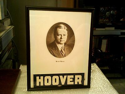 Herbert Hoover Framed Portrait Lithographed Print And 1928 Union Auto Sticker
