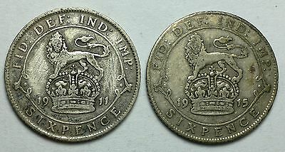 1911, 1915 Great Britain 6 Pence silver coins, 925, sterling