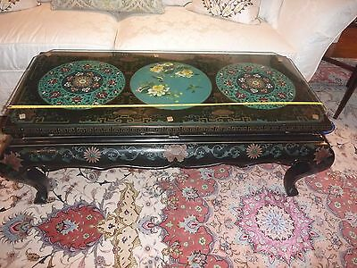 Vtg STUNNING Chinese LACQUER COFFEE TABLE - 3 Cloisonne Plate Inlays & Glass Top