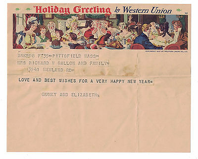 1930s Western Union Holiday Greeting Telegram with Envelope