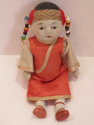 "Antique Bisque Oriental Baby Girl Doll Beads in Hair 4"" Hand Painted Miniature"