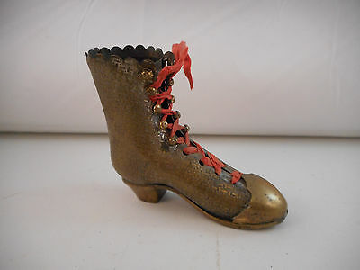 Outstanding Vintage Antique Brass Boot Pincushion